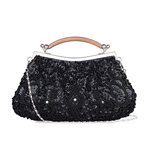 (Kisschic Women's Vintage Style Beaded and Sequined Evening Bag Wedding Party Handbag Pearl Clutch Purse (Black))