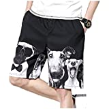 YUNY Men's Slant Pocket Straight Elastic Waist Oversized Midi Shorts Black M