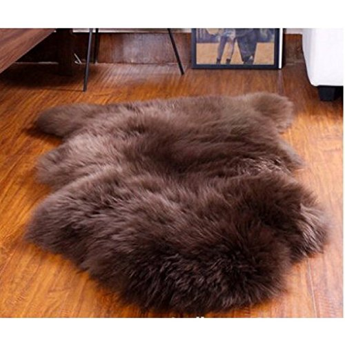 astar sheepskin fur rug single pelt 2x3 sheep skin area rug brown