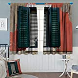 Anhounine Country,Blackout Curtain,Old Italian Stone House with Medieval Style Shutters and Colorful Flowers Image,Patterned Drape for Glass Door,Red Green Grey,W96 x L84 inch