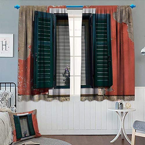 - Anhounine Country,Blackout Curtain,Old Italian Stone House with Medieval Style Shutters and Colorful Flowers Image,Thermal Insulating Curtain,Red Green Grey,W84 x L84 inch