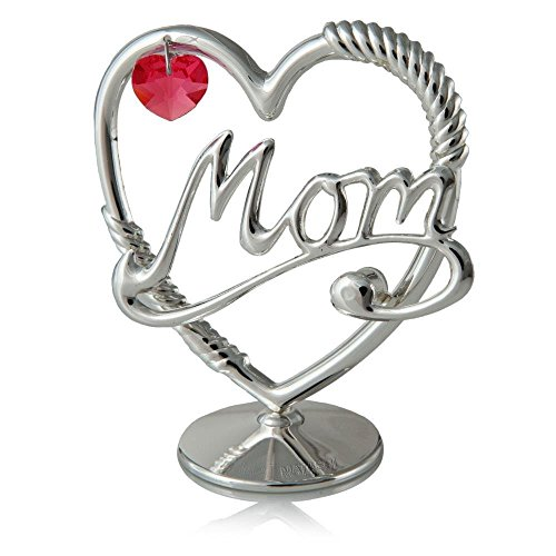Beautifully Crafted Silver Plated 'Mom in a Heart' Table Top Ornament Made with Genuine Rose Colored Matashi Crystal ()