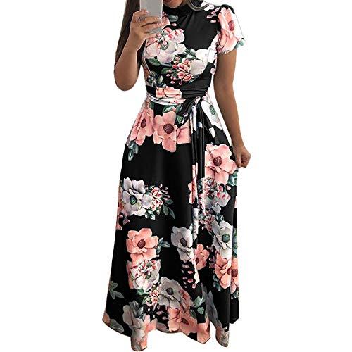 Toimothcn Women Floral Maxi Dress Short Sleeve Plus Size Holiday Tunic Sundress(Black1,M)