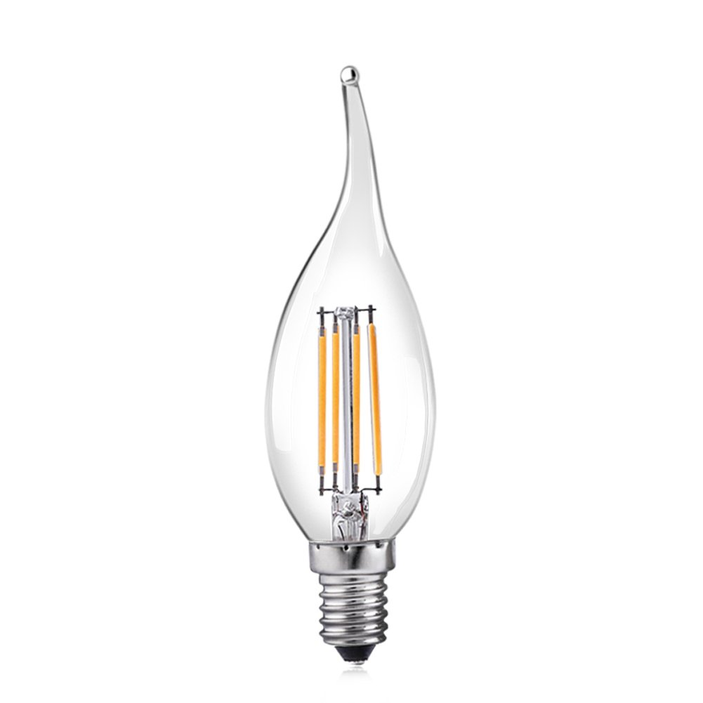 Cleveland Vintage Lighting Edison Flame Candelabra Bulbs: YCDC Filament Bulb LED 4W E12 Small Edison Screw Clear
