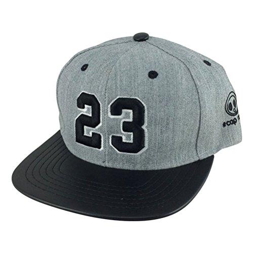 Number #23 Heather Grey White Black Visor Hip Hop Snapback Hat Cap X Air Jordan by CapRobot