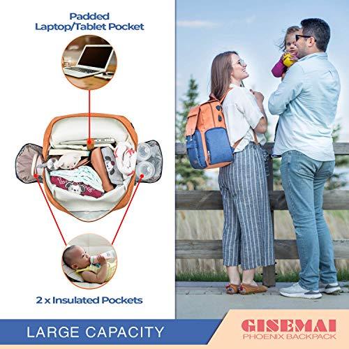 GISEMAI Diaper Bag Backpack | Maternity Bag | Diaper Backpack for Baby Shower Registry | Diaper Bags for Baby Girl & Baby Boy Stuff | Mommy Bag & Dad Diaper Bag (Tile Red & Navy Blue)