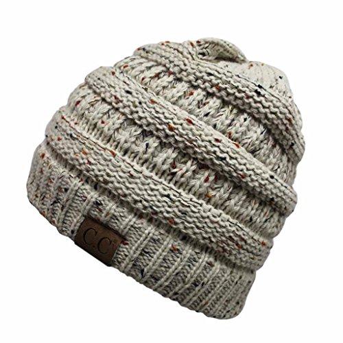 UPC 606993451456, Hatsandscarf CC Exclusives Unisex Ribbed Confetti Knit Beanie (HAT-33) (Oatmeal)