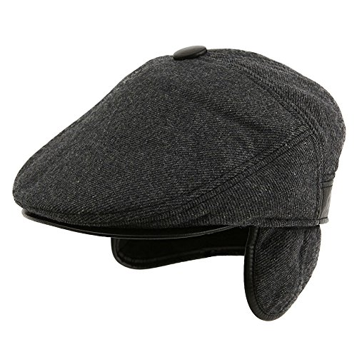 Mens Earflap (Mens Winter Hat with Ear Flap Fitted Hat Hunting Wool Newsboy Cap Black Ivy Flat Cap with Earflap XL SIGGI)