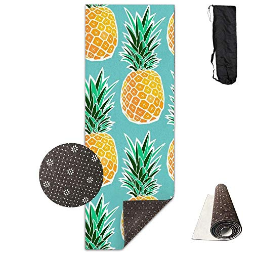 (Hawaiian Tropical Pineapple,Extra,Thick High Density Exercise Yoga Mat with A Yoga Bag for Exercise,Yoga and Pilates. Waterproof Yoga Mats)