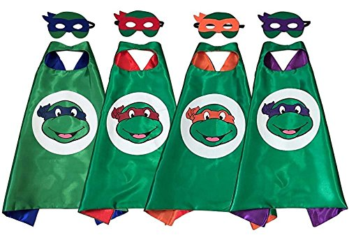 [OscarNOtis TMNT Cape and Mask Set Dress Up Costume] (Ninja Turtles Child Costumes)