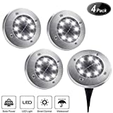 Cheap  Solar Ground Lights,8 LED Disk Lights Solar Powered Waterproof Garden Pathway Outdoor in-Ground Lights with Light Sensor