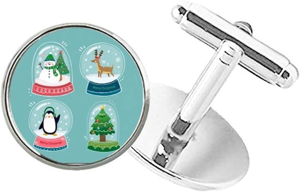 DIYthinker Merry Christmas Snowman Gift Tree Round Button Cuff Clip Stud Cufflinks