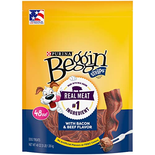 Purina Beggin' Strips Made in USA Facilities Dog Training Treats, Bacon & Beef Flavors - 48 oz. Pouch