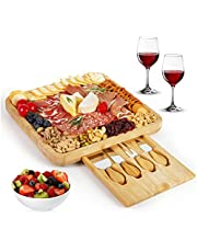 Charcuterie Boards Bamboo Cheese Board and Knife Set, Charcuterie Platter and Serving Tray for Cheese, Meat. Large and Thick Natural Wooden Server