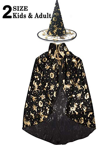 Boys Wizard Costume (Halloween Costume Women Girls Boys 2 Pack Witch Wizard Cape Role Play Costume Dress Up Cloak Party Hat Cosplay)