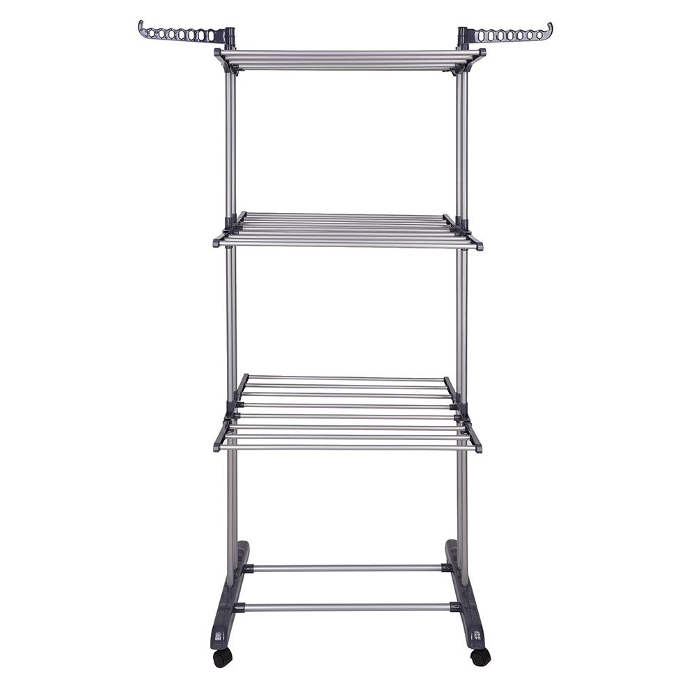 Amazon.com: Yescom Rolling Collapsible Clothes Drying Rack 3-Tier Foldable Laundry  Dryer Hanger Airer Compact Storage Steel: Home & Kitchen