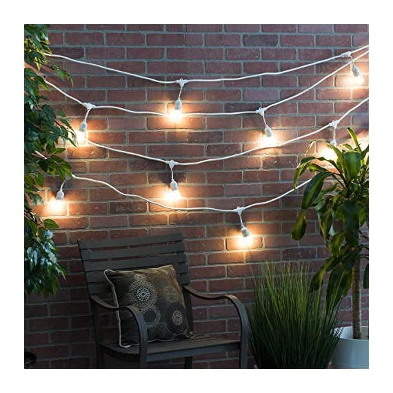 AmazonBasics 24-Foot Commercial Grade Outdoor String Lights with 8 S14 Edison Style 1-Watt LED Bulbs - Soft White & White Cord - 24-foot commercial grade outdoor string lights, includes 8 LED Edison S14 shape bulbs; UL listed with 1 bulb every 3 feet With a life of 15,000 hours, the bulb will last over 13.7 years (based on 3 hours of use each day) With a correlated color temperature of 2700 kelvin, the string lights provide a soft white light, creating a warm ambiance for any patio, pergola or outdoor setting - patio, outdoor-lights, outdoor-decor - 51IV4yizAnL. SS570  -