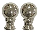 Royal Designs Small Ball Lamp Finial for Lamp Shade- Polished Silver Ser of 2