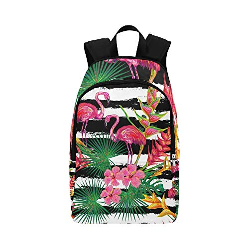 GIRLOS Summer Jungle Flamingo Palm Leaves Casual Daypack Travel Bag College School Backpack for Mens and Women