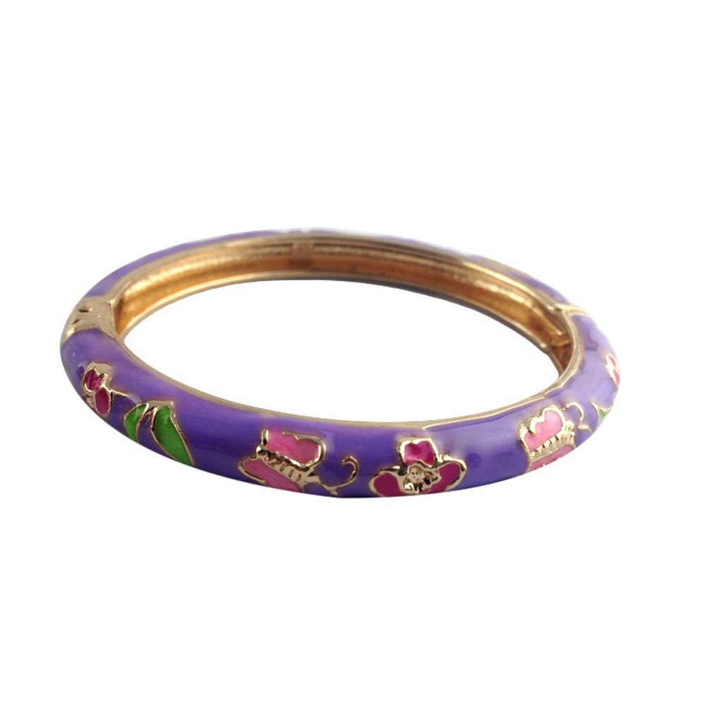 UJOY Childrens Bangles Cloisonne Jewelry Indian Gold Plated Enamel Flower Bracelets Opening Hinged with Box 55D14