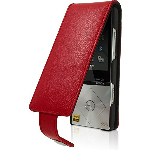 iGadgitz Red Leather Flip Case Cover for Sony Walkman NWZ-A15 NWZ-A17 NW-A25 NW-A27 8GB 16GB 32GB & 64GB with Detachable Carabiner + Belt Loop + Magnetic Closure + Screen Protector