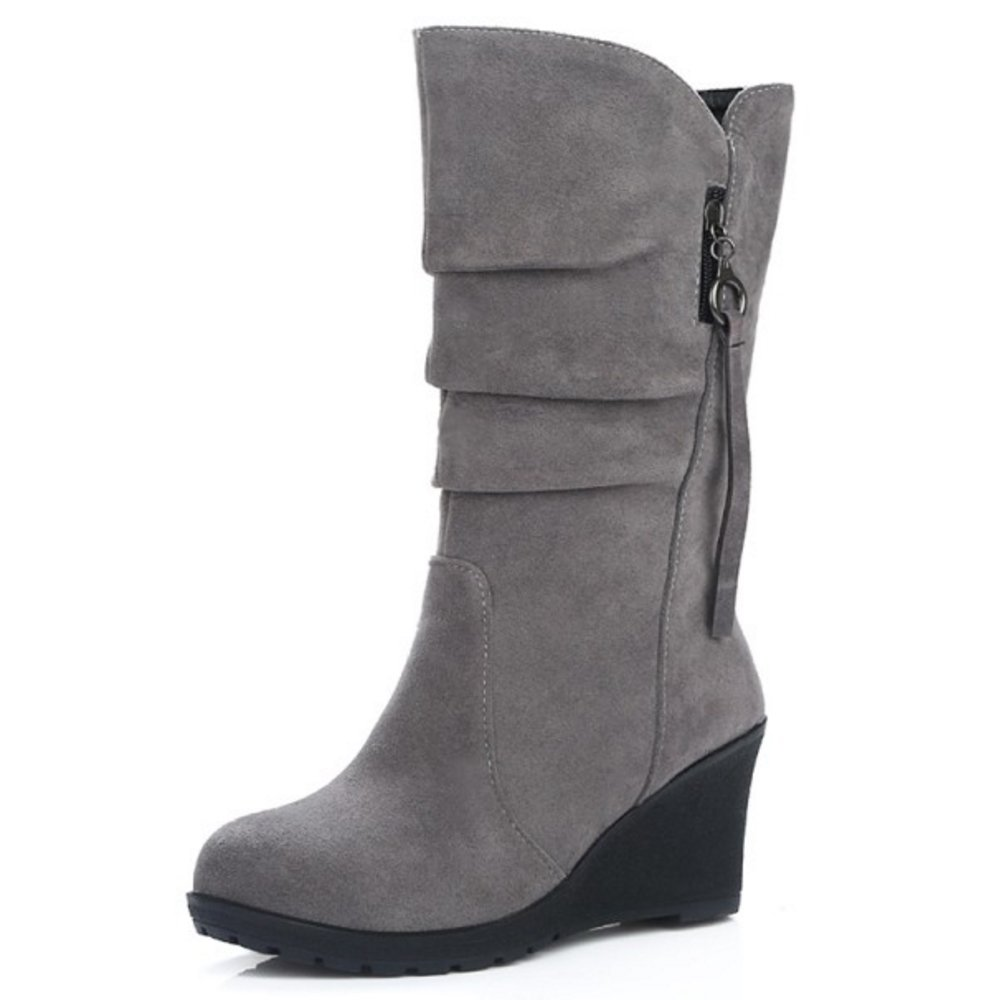 Zanpa Femmes Chaussures Mode Moyens Mode Compenses Moyens Bottes Chaussures gray bf66fcc - automatisms.space
