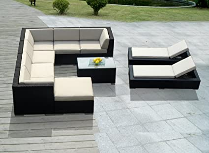 Sensational Genuine Ohana Outdoor Sectional Sofa And Chaise Lounge Set 10 Pc Set With Free Patio Cover Unemploymentrelief Wooden Chair Designs For Living Room Unemploymentrelieforg