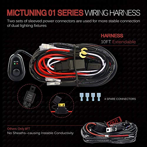 Mictuning led light bar wiring harness off road power a