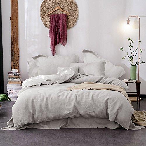 Merryfeel 100% Linen Duvet Cover Set - King Grey