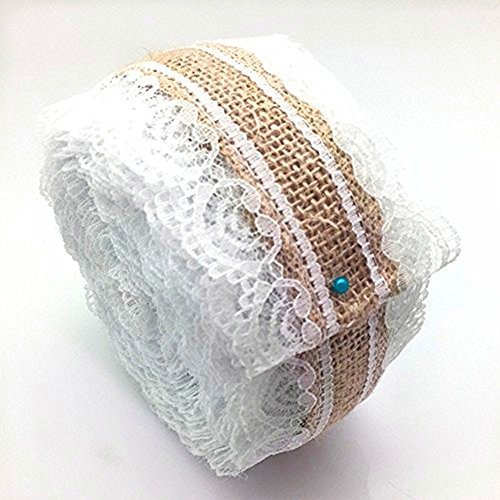 OZXCHIXU TM Natural Burlap Craft Ribbon Roll with White Lace Trims Tape Jute Fabric Ribbons 394 inches