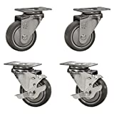 Service Caster - 3'' x 1.25'' Thermoplastic Rubber wheels Caster Set of 4-2 Swivel Casters w/Brakes/2 Swivel