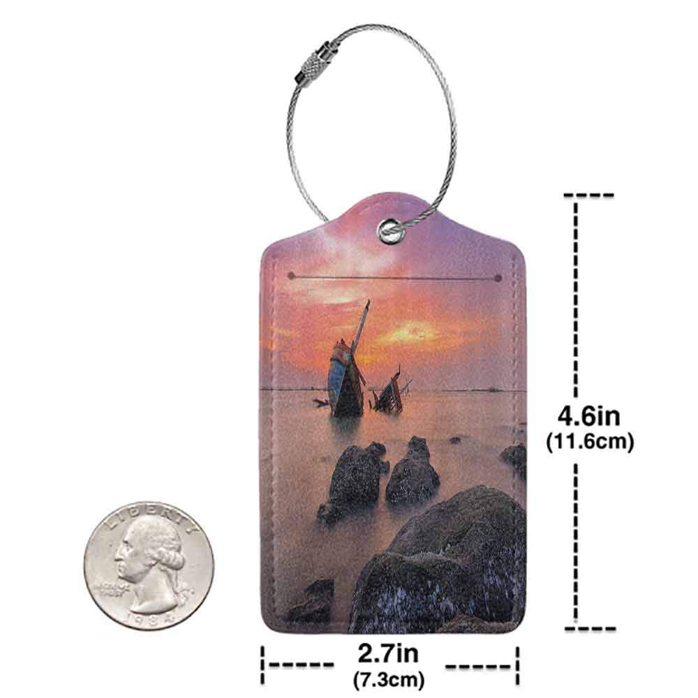 Modern luggage tag Ocean Decor Sunken Aground Boat Vessel in Foggy Water before Exquisite Sky at Sunset Image Suitable for children and adults Orange Grey W2.7 x L4.6