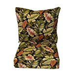 Indoor / Outdoor Cushions for Deep Seating Furniture Chair - Twilight Black, Green, Burgundy Tropical Palm Leaf - Choice of Size (SEAT CUSHION - 22'' W X 22'' D)
