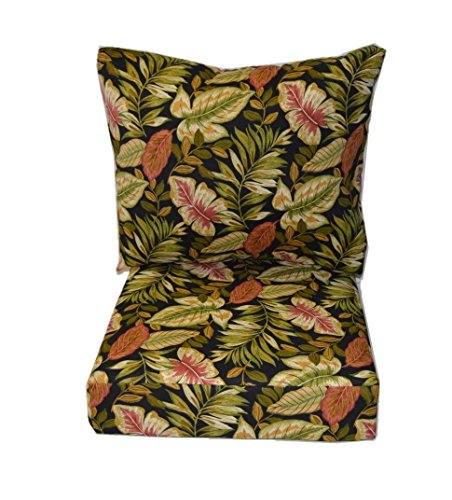 Twilight Patio Chair (Indoor / Outdoor Cushions for Deep Seating Furniture Chair - Twilight Black, Green, Burgundy Tropical Palm Leaf - Choice of Size (SEAT CUSHION - 24