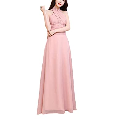 927e4869517 Infinity Gown Dresses Multi-Way Strap Wrap Convertible Maxi Dresses for  Womens Blush Pink