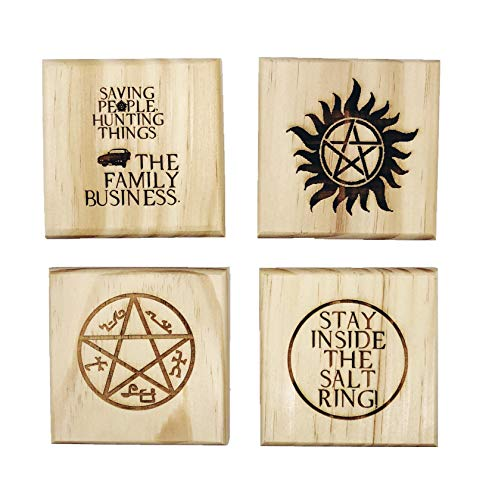 Supernatural Drink Coasters - Gift Set of Four Engraved Real Wood Coasters: Anti-possession symbol, Devil's Trap,Stay inside the salt ring, and Saving people hunting things. (SPN fan gift) ()