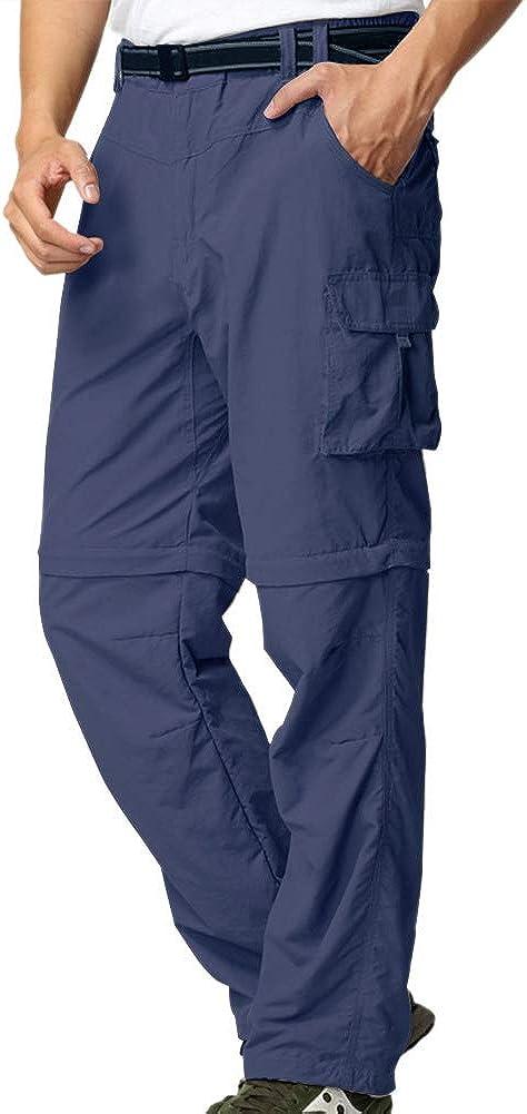 Hiking Pants Mens,Convertible Quick Dry Waterproof Zip Off Shorts Travel Safari Fishing Cargo Pants