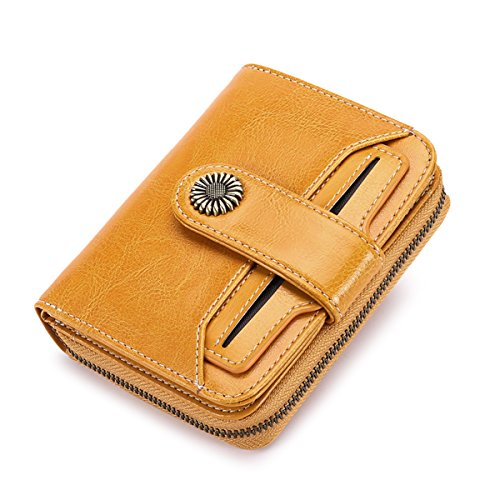 Short Leather Genuine (Genuine leather Short Wallet Women Small Purse Lady Wallets SENDEFN 2018 New Quality Retro Female Coin Purses Card Holder)
