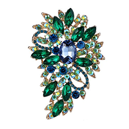 EVER FAITH Women's Austrian Crystal Wedding Flower Leaf Bouquet Brooch Light Blue w/Green Gold-Tone