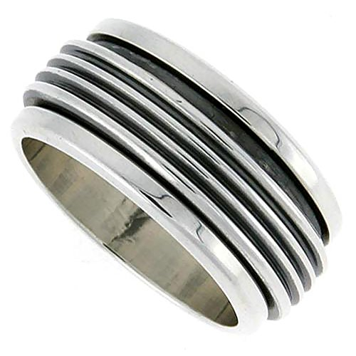 Sterling Silver Mens Spinner Ring Ribbed Design Handmade 3/8 inch wide, size 10 ()
