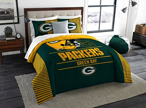 Green Bay Packers Comforter Set Bedding Shams NFL 3 Piece King Size 1 Comforter 2 Shams Football Officially Licensed Linen Bedroom Decor Imported For True Fans Sold by MBG.4u