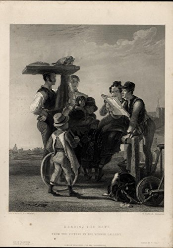 Reading the News dog children hitching post 1850 fine engraved antique print