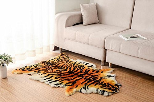 Tiger Skin Rug - Okayda Handmade Faux Tiger Skin Throw Rug Decorative Sheepskin Area Carpet Plush Silky Soft for Bedroom, Sofa, Wall, Seat and so on tiger 1 pelt
