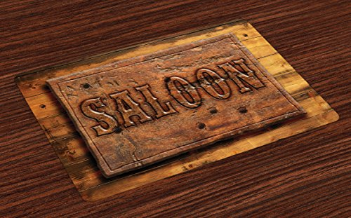 (Lunarable Western Place Mats Set of 4, Sign of Saloon on a Wooden Wall Restaurant Carving Art Country West Style, Washable Fabric Placemats for Dining Room Kitchen Table Decoration, Cinnamon Caramel)