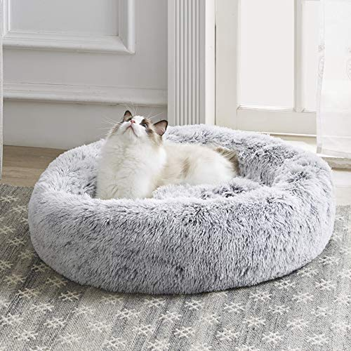 Western Home Faux Fur Dog Bed & Cat Bed, Original Calming Dog Bed for Small Medium Large Pets, Anti Anxiety Donut Cuddler Round Warm Washable Cat Bed for Indoor Cats(20″, Light Grey)