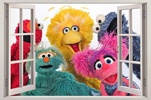 Sesame Street 3D Window Decal Wall Sticker Art Mural Elmo Cookie Monster H750, Huge