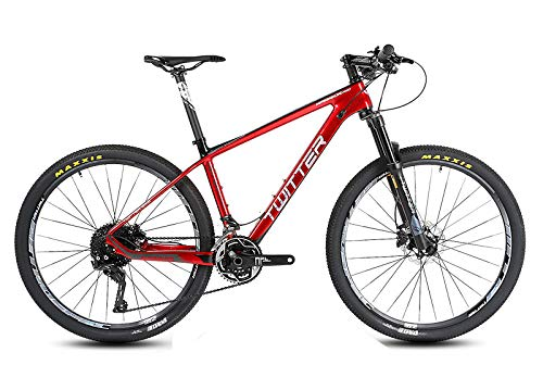 DUBAOBAO Mountain Bike, Road Bike, M8000-22 Speed (33 Speed) Large Set, Suitable for Children and Young Adults, 11.3KG, Carbon Fiber Material/Race Level, 5 Colors,Red,14.5CM -