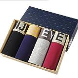 Quicksilk Men's 4 Pack Comfortable Bamboo Fiber Boxer Briefs (M/32-34 Inches, D)
