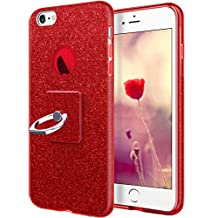iPhone 6 Plus Case,iPhone 6s Plus Case,Cheeringary Glitter Shiny 3 in 1 Shockproof Slim Fit TPU+PC Protective Cover Shell [Ring Holder Kickstand] for Apple iPhone 6 Plus/6s Plus(5.5 inch)-Red