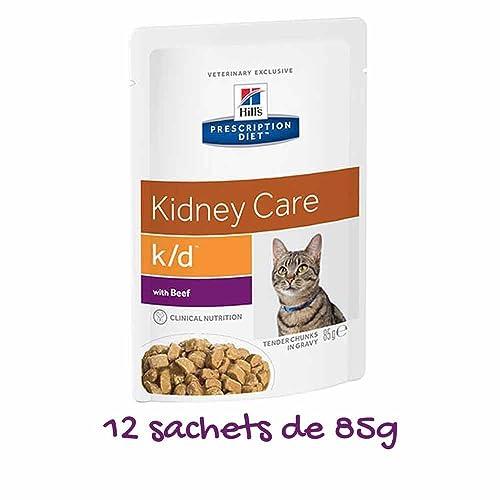 Hill's Prescription Diet Feline K/D Santé Rénale Nourriture pour Chat Sachets 12x85g Bœuf